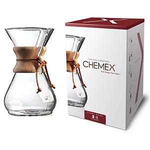 Cafetera de Filtro Chemex de Vidrio y Madera Barista