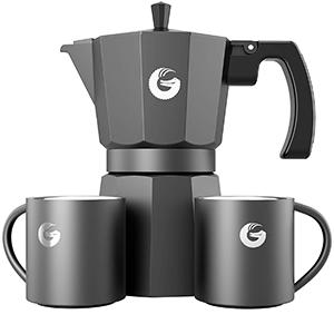 Moka Pot Coffee Gator Más 2 Tazas Térmicas