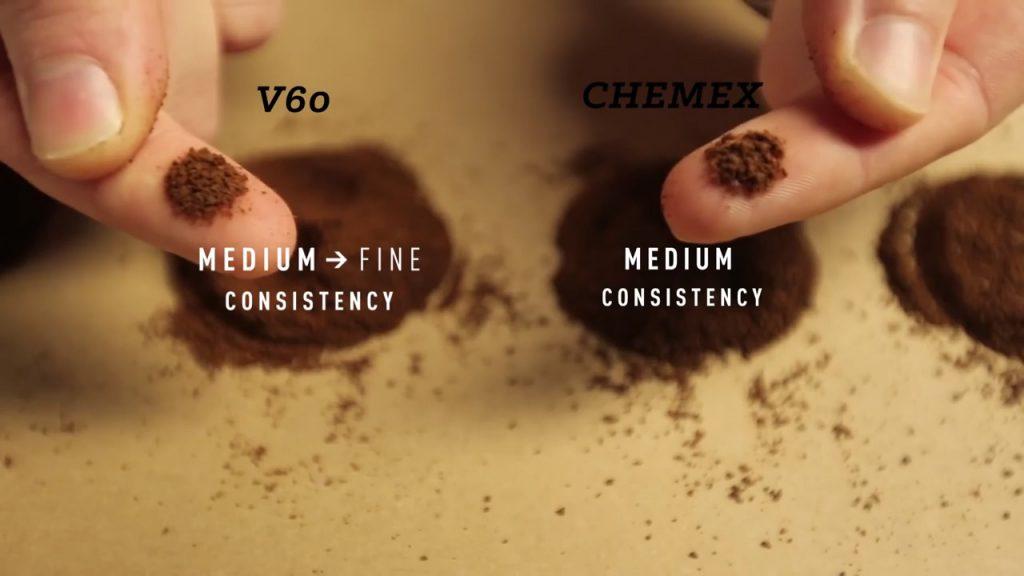 cómo hacer café en chemex paso 1 tamaño de molienda