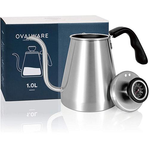 Ovalware Hervidor De Agua Para Café Y Té Con Termómetro Incorporado Y Cuello De Cisne