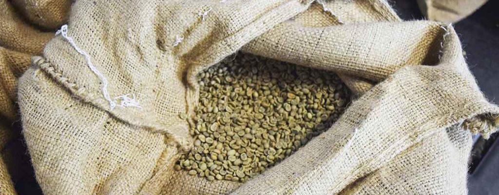 Saco Con Granos De Café Verde Para Ser Tostados