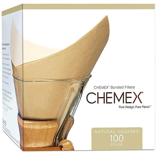 Filtros de café de fibra natural cuadrados Chemex sin costura