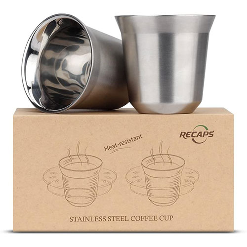 Recaps Juego De Vasos Para Espresso De Acero Inoxidable De Doble Pared De 80 ml