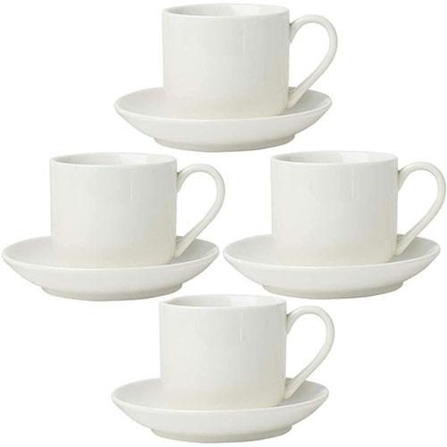 Set De 4 Tazas Para Espresso Porcelana Blanca Premium