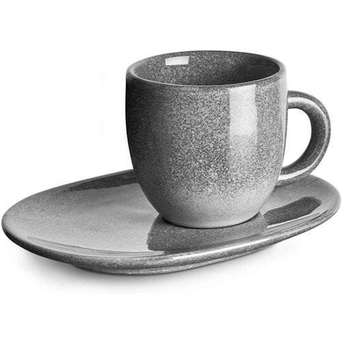 Tazas De Espresso Juego De 4 Tazas Con Platillos De Cerámica Gres